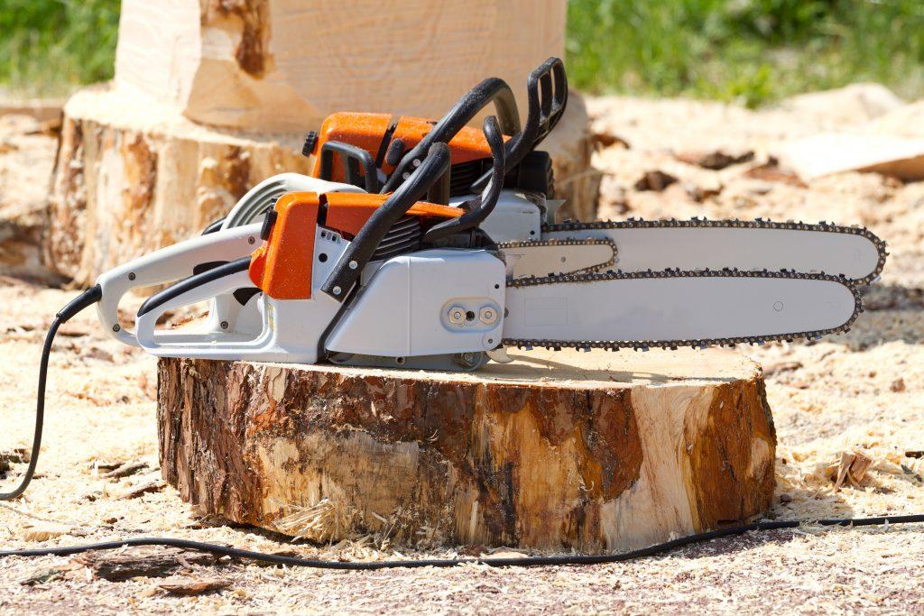 Orange chainsaws