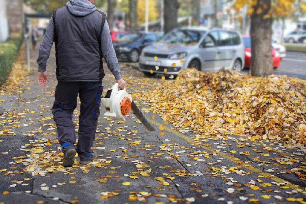 man with leaf blower