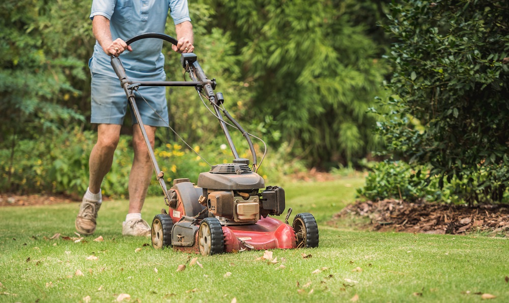 man mowing the lawn with push mower